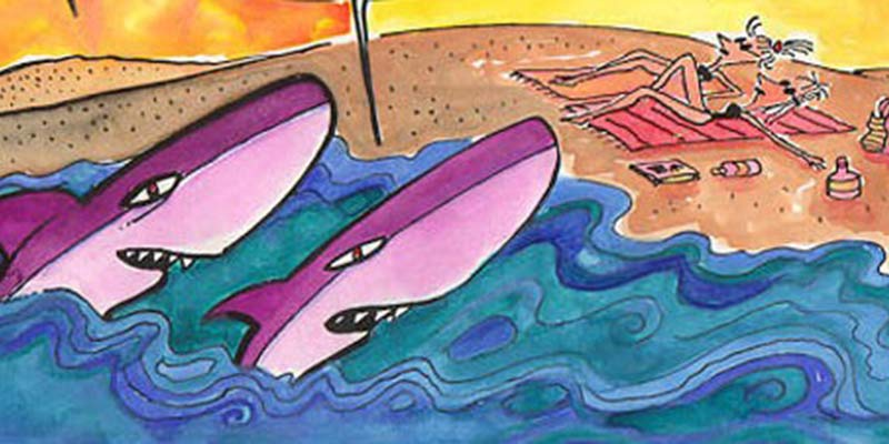 Tiburones esperando atacar