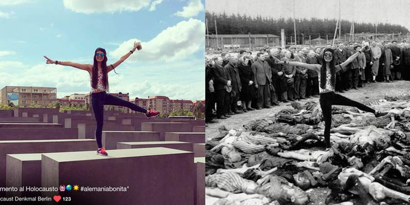 Un artista transforma los selfies en el memorial del Holocausto en algo más trágico