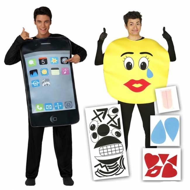 Disfraz de iPhone y emoticono